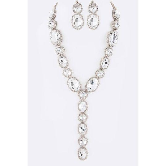 Silver Crystal Drop Necklace Set