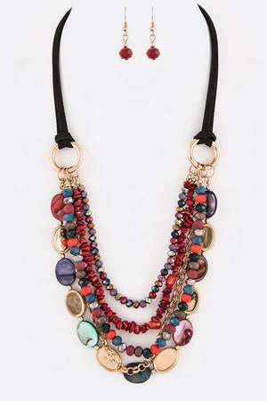 Multibeaded Cord Necklace Set