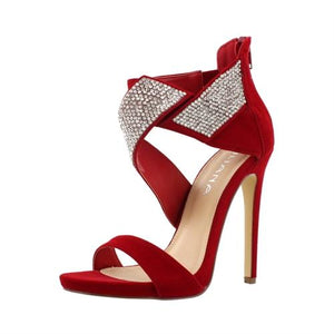 Red Rhinestone Ankle Wrap Heels