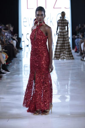 SIREN - Red Sequin Middle Slit Gown