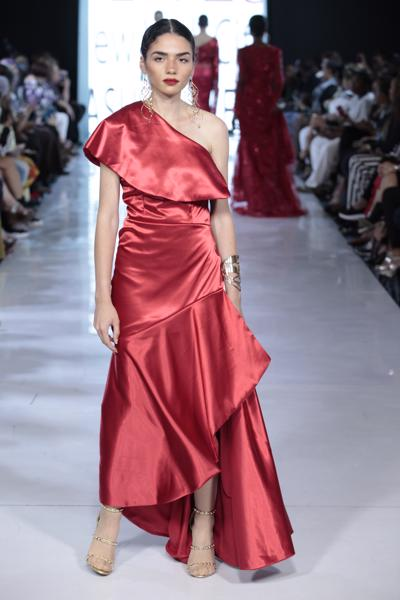 SIREN - Red Satin Asymmetrical Peplum Gown