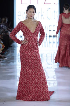 SIREN - Red/Gold Knit Chain Accented Gown