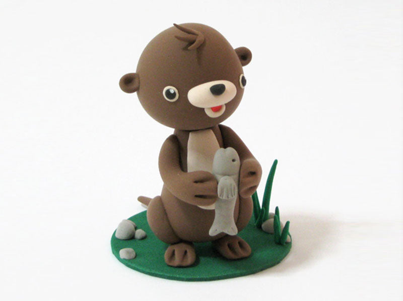 Step by step light air dry clay cute otter