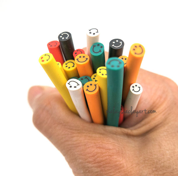 Assorted Smiley Happy Face Polymer Clay Canes Bulk