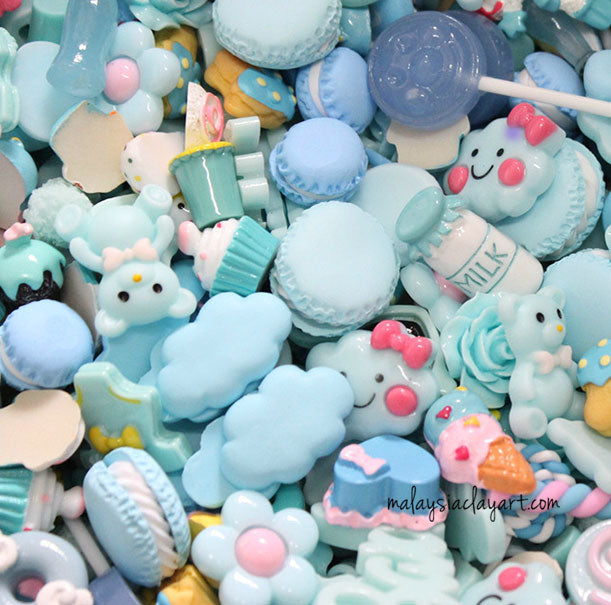 Blue Assorted Mix Kawaii Decoden Kit Cute Cabochons