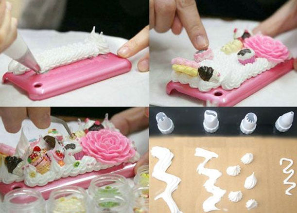 Cream Clay DIY Set With Rose Cabachon and Decorative Tips - Kawaii Phone Case DIY Materials