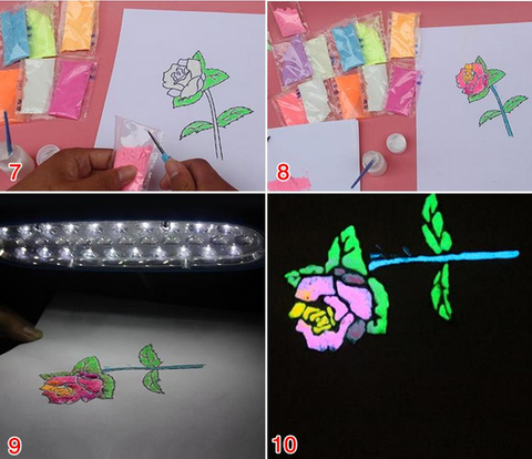 glow in dark powder paintings