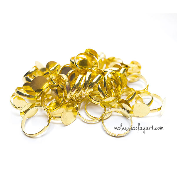 1 x Gold Colour Round Ring Setting DIY Base Ring