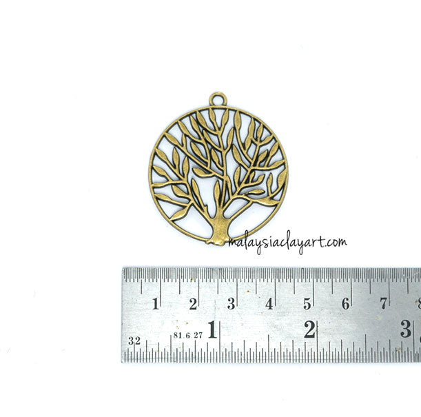 Tree in Cirlcle Bronze Vintage Zakka Charm