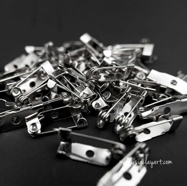 Silver Tone Brooch Pin Backs Bar Pin Backs 25mm