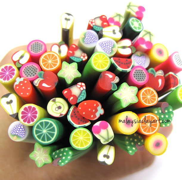 Assorted Fruits Polymer Clay Canes Bulk Wholesale