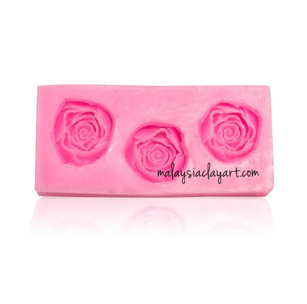 Roses Flower 3 Cavity 3.5cm Silicone Mold