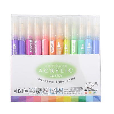 Acrylic Glitter Water Base Water Proof Color Pen Set | Pen for Stone Art | Clothes