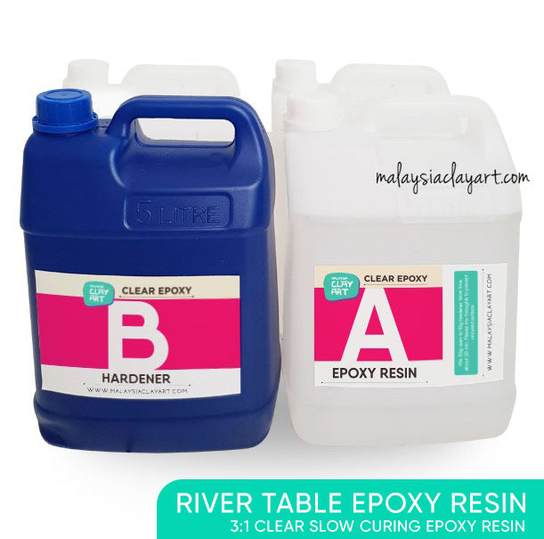 20kg River Table Clear Epoxy Resin Slow Curing | AB Epoxy Resin Table Top Wholesale