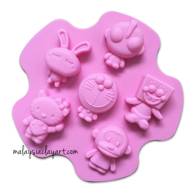 Cartoon Character Silicone Mold - 6 Cavity