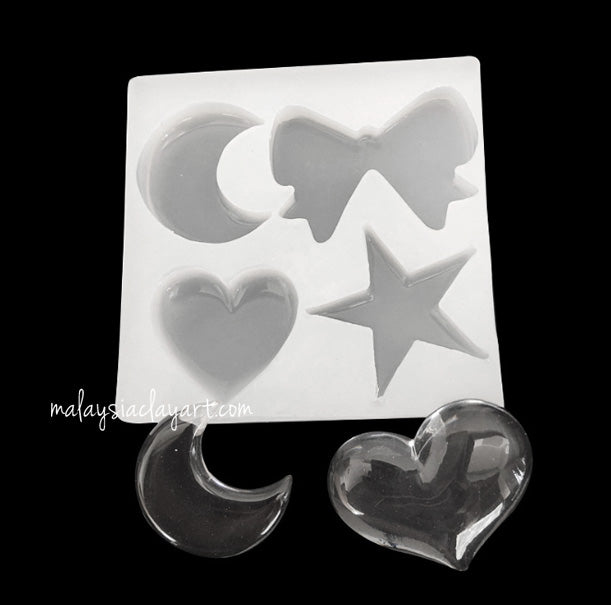 Love Star Ribbon and Moon High Gloss Silicone Mold