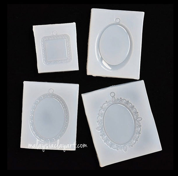 Set of 4 Earring Pendant Frame with hole High Gloss Silicone Mold