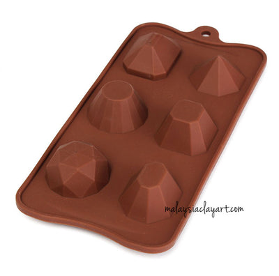 Multiple Diamond Jewel Shaped Silicone Mold - 6 Cavity