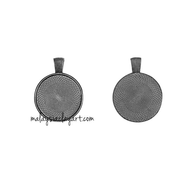 1 x DIY Necklace Pendant Round Frame - Dark Nickel
