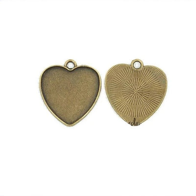 1 x Necklace Pendant Love Shape Frame Bronze