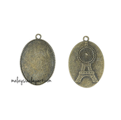 1 x DIY Necklace Pendant Oval Frame Eiffel Tower