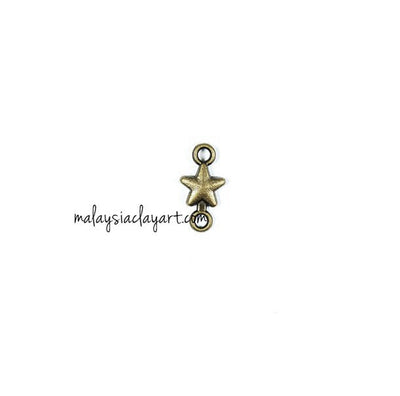 1 x DIY Zakka Vintage Star Charm Double Loop (1.5cm)