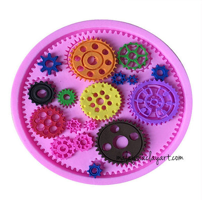 Steampunk Style Clock Watch Gears Wheel Silicone Mold 17- Cavity