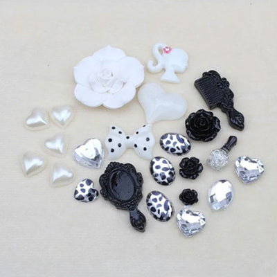 DIY Decoden Rose Resin Cabochon Pack - Black