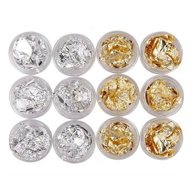 Gold & Silver Flakes Foil Nail Clay Deco Set Of 12