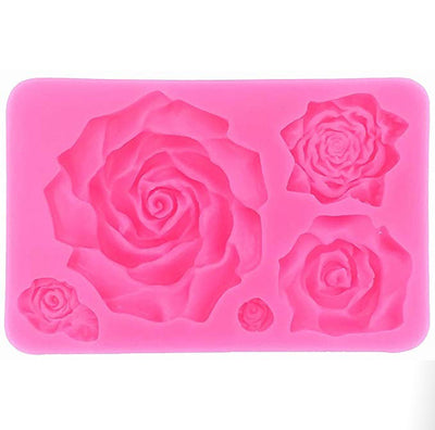 Large Rose Silicone Mold - 5 Cavity