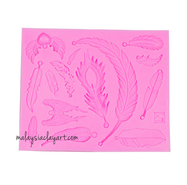 Feather Silicone Mold - 14 Cavity