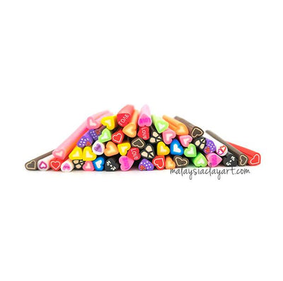 50 x Assorted Love Shaped Polymer Clay Canes Bulk (Wholesale)