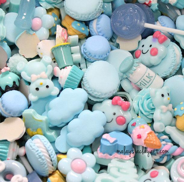 10 x Blue Assorted Mix Kawaii Decoden Kit Cute Cabochons