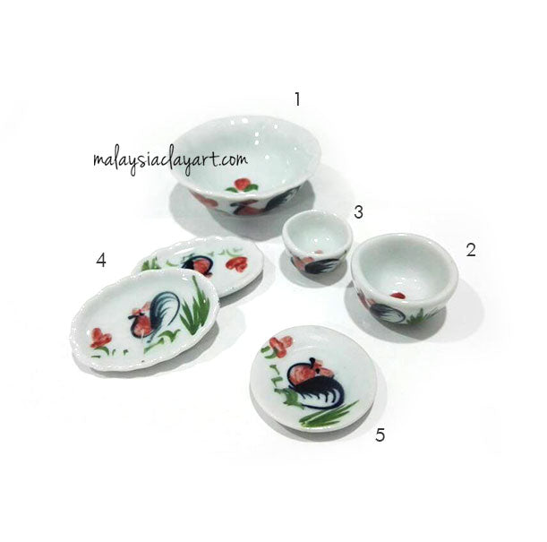 Miniature Tiny Chicken Bowl & Plate Dollhouse Kitchen