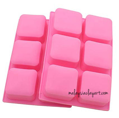 Square With Rounded Edges 6 Cavity Silicone Mold | Soap Mold