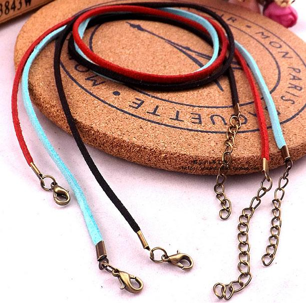 Flat Faux Leather Cord Necklace With Vintage Clasp