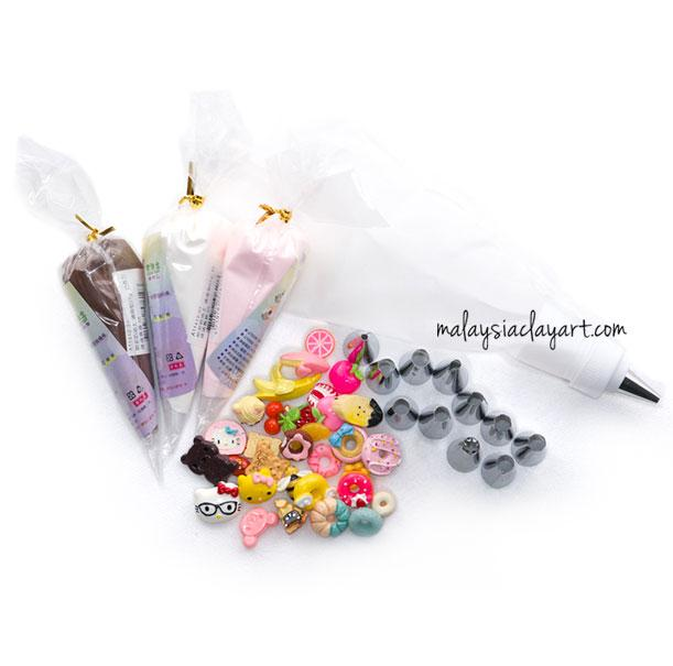 Cream Clay DIY Set With 30pcs Cabachon and Decorative Tips - Kawaii Phone Case DIY Materials