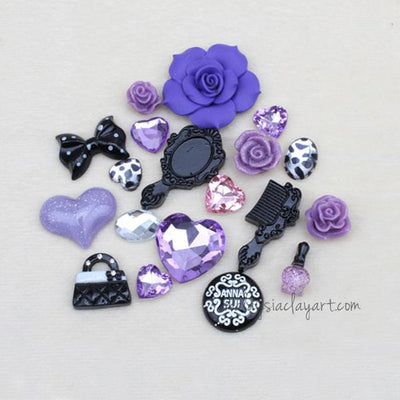 DIY Decoden Rose Resin Cabochon Pack - Purple