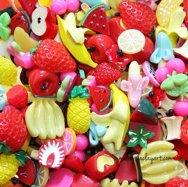 10 x Fruit Assorted Mix Kawaii Decoden Kit Cute Cabochons