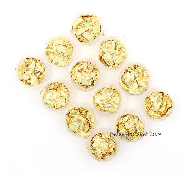 Gold Flakes Foil Nail Clay Deco Set Of 12