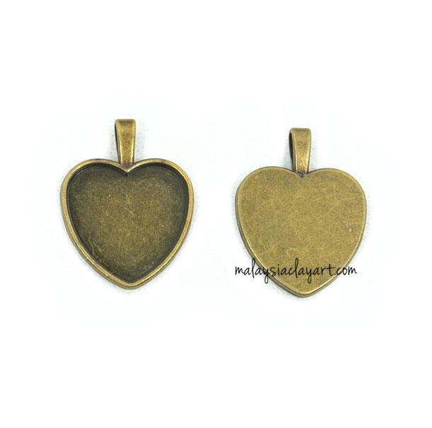 1 x Necklace Pendant Love Shape Frame Bronze (Design 2)