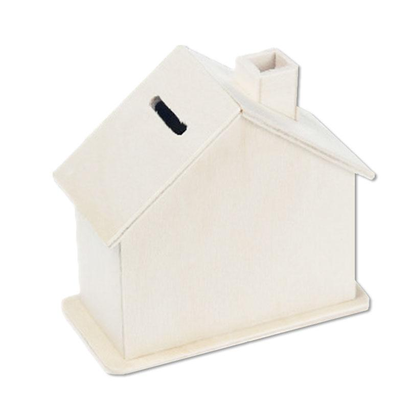Wooden House Shape Coin Bank