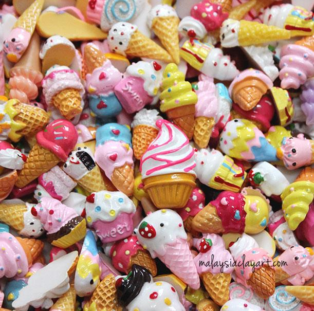 10 x Ice Cream Assorted Mix Kawaii Decoden Kit Cute Cabochons