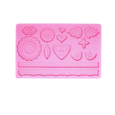Floral and Lace Fondant Silicone Mold