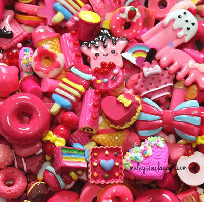 10 x Magenta Assorted Mix Kawaii Decoden Kit Cute Cabochons