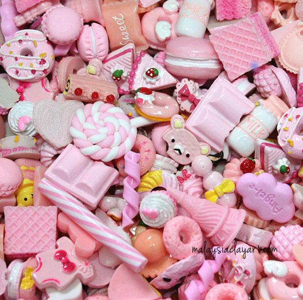 10 x Pink Assorted Mix Kawaii Decoden Kit Cute Cabochons
