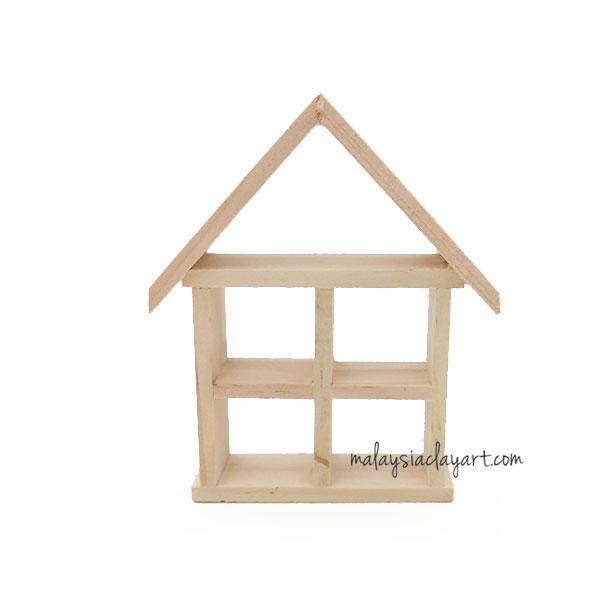 1 x Miniature Wooden House Shaped Rack For Vase | Home Deco