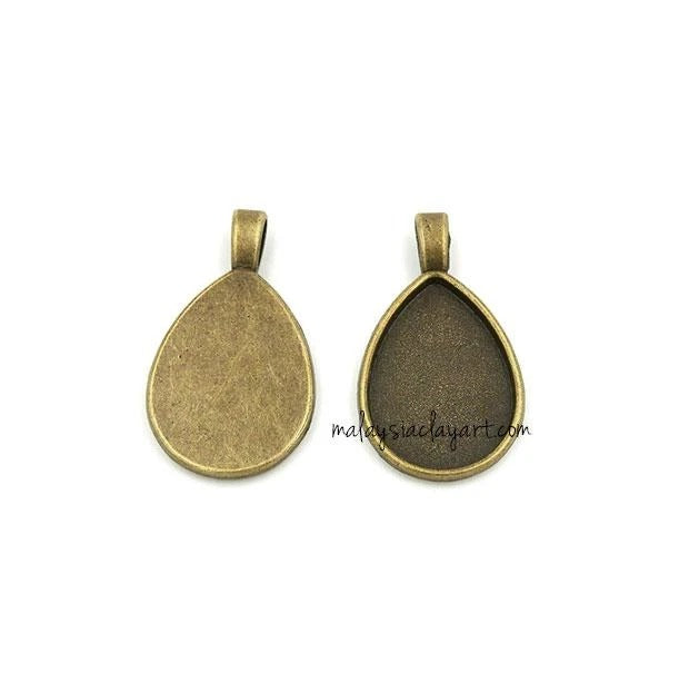 1 x Necklace Pendant Teardrop Frame Bronze