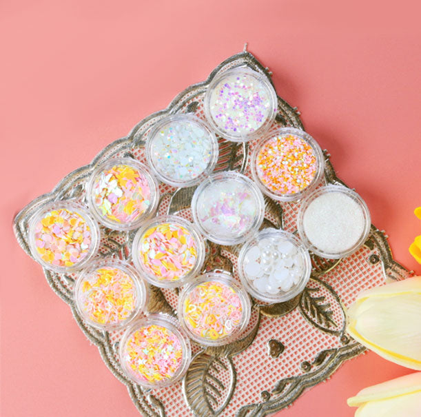 Box of 12 Decor Random Faux Pearl Beads White And Pink / Orange