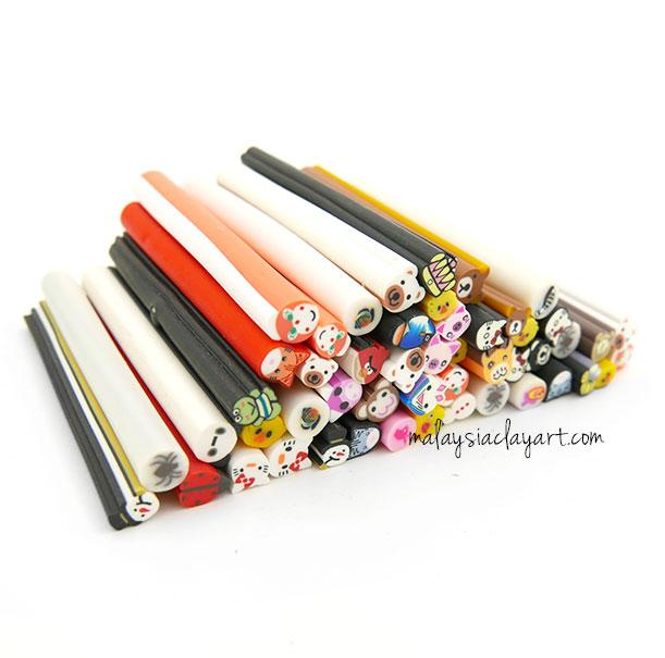 50 x Assorted Cartoon Characters Polymer Clay Canes Bulk Wholesale